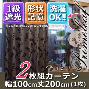 1級遮光・形状記憶カーテン2枚組 プライムリーフ 幅100丈200 ブラウン|f-syo-ei