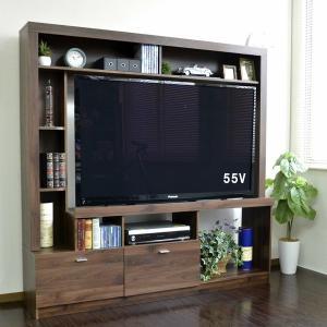 55インチ対応 テレビ台 ハイタイプ 壁面家具 ブラウン 50型 壁面収納 大容量 収納 木製 おしゃれ TVボード AVボード テレビラック|f-syo-ei