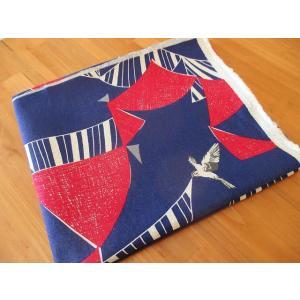 生地 ハギレ(90cm~1m) エチノ 綿麻キャンバス -flag-(パープル/レッド) 布 echino|fabrichouseiseki