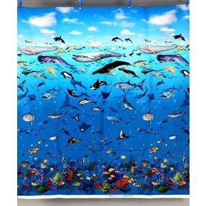 生地 1m単位 インクジェット 海の生き物(ブルー) AP5001-A 布 綿 コスモテキスタイル K-ZST お買得6/21【値下げ処分品】|fabrichouseiseki