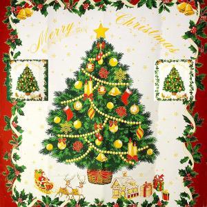パネル(106×97cm) クリスマス タペストリー 00 ツリー サンタクロース トナカイ お菓子のお家|fabrichouseiseki