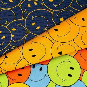 生地 1m単位 綿麻 キャンバス ビッグスマイリー SMIF-02 布 スマイル SMILEY FACE 入園 入学 KIYOHARA P-|fabrichouseiseki