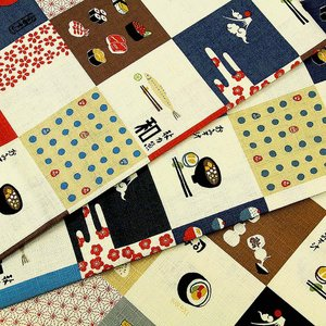 【ワンコインセール】生地 1m単位 サザンクロス 日本食柄 LO-41090-1 布 コッカ OEDO MIX J-VST|fabrichouseiseki