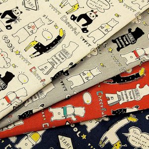 【ワンコインセール】生地 1m単位 綿麻キャンバス ハッピーアニマル LO-41060-1 布  コッカ Original Cotton J-VST|fabrichouseiseki