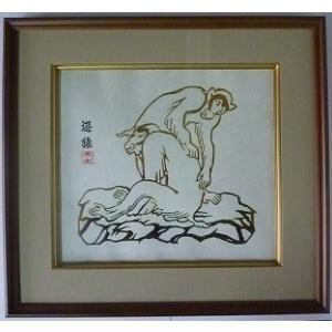 【干支シリーズ 申】  箔押し画 額縁付き 遊猿|faceartkyo