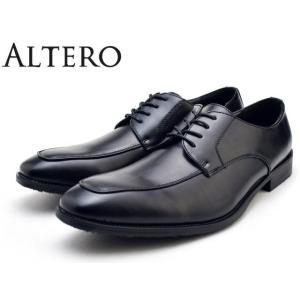 ビジネスシューズ メンズ 防水 軽量 3E 防滑 幅広 大きいサイズ ALTERO アルテロ 32000 ブラック Uチップ|facetofacegold