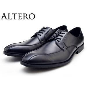 ビジネスシューズ メンズ 防水 軽量 3E 防滑 幅広 大きいサイズ ALTERO アルテロ 32001 ブラック スワールトゥ|facetofacegold