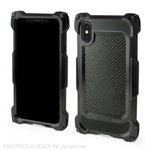 FACTRON ワイヤレス充電対応 Quattro for iPhone X HD Black on Blackcarbon 超々ジュラルミン|factron