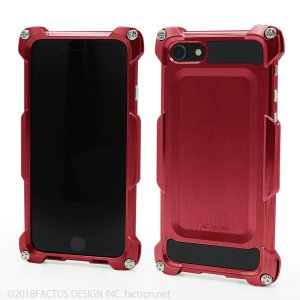 FACTRON Quattro for iPhone8 HD シャイニーレッド ジュラルミン FA-M-643|factron