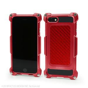 FACTRON ワイヤレス充電対応 Quattro for iPhone8 HD シャイニーレッド×レッドーカーボン ジュラルミン FA-M-669|factron