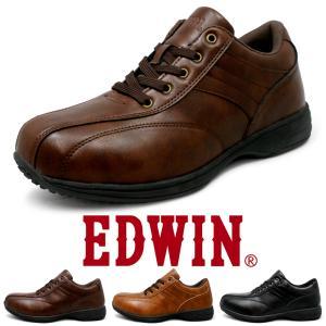 ビジネススニーカー メンズ 仕事靴 防水 防滑 軽量 幅広 3E サイドジップ 紐靴 EDWIN エドウィン EDM457 edm457|fairstone