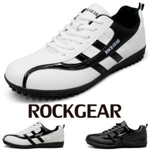 ゴルフトレーニングシューズ ラバースパイクソール 白スニーカー メンズ ゴルフ ドライビングシューズ 紳士靴 ROCKGEAR rg710|fairstone