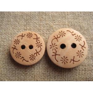 手芸 ボタン ウッドボタン お花のウッドボタン (デイジー)|fairy-lace