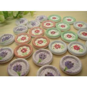 ウッドボタン、陶器風お花のデザイン25個セット|fairy-lace