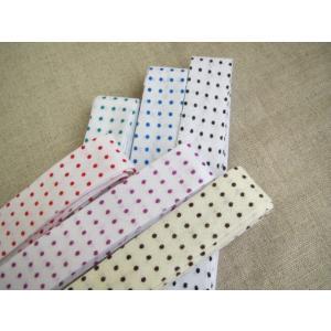 バイアステープ (白生地 水玉) 18mm幅 両折 1本売り|fairy-lace