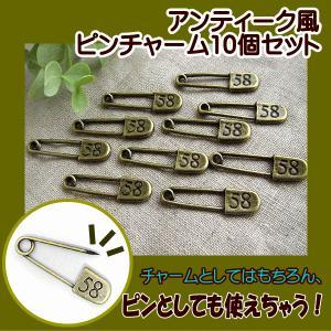 アクセサリーチャーム アンティーク風 ピンチャーム 10個セット(58)|fairy-lace