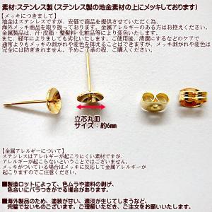 ピアス金具・芯立丸皿6mmピアス金具 (15ペア30個) ステンレス製・ゴールド fairy-lace 03