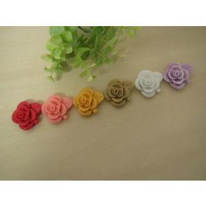 カボション 薔薇のデコパーツ ビックサイズ(葉付き薔薇) 6色セット パーツ 貼り付けパーツ|fairy-lace