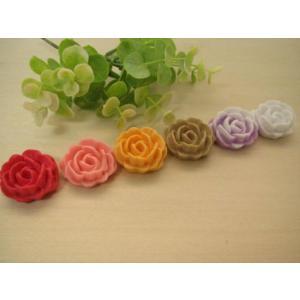 カボション 薔薇のデコパーツ、パーツ、貼り付けパーツ、ビックサイズ(ブルガリアンローズ)6色セット|fairy-lace