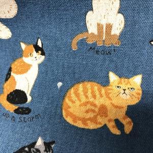 ダブルガーゼ 生地 にゃんこの集い Wガーゼ 綿100% 布 手芸 生地 ねこ 猫 赤ちゃん スタイ fairy-lace