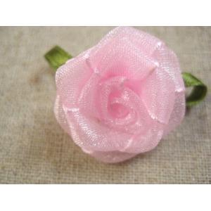 葉付巻き薔薇(オーガンジー・ピンク)|fairy-lace