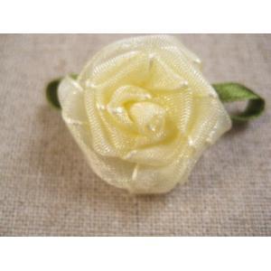 葉付巻き薔薇(オーガンジー・イエロー)|fairy-lace