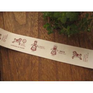 綿テープ 3ヤードパック 二色使いの木馬|fairy-lace
