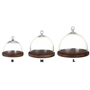 ガラスドーム ガラスケース ディスプレイドーム ケーキドームダルトンドームDMM 木製台座付き Mサイズ|fairy-land