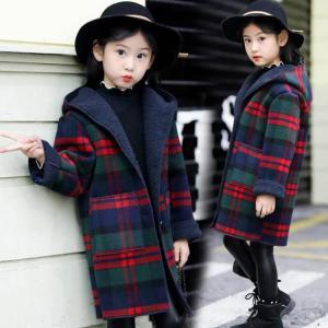 子供服 女の子 ダッフルコート ロング 韓国子供服 フード付きコート チェック柄 裏ボア 子供服 キッズ 女児 ジャケット 冬服 学生
