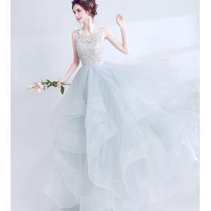 刺繍不規則ウェディングドレス☆ウエディングドレス☆ロングドレ...