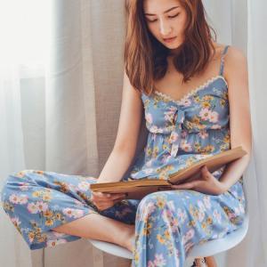 パジャマ レディース 夏 キャミソール パッド付き パジャマ 長ズボン 上下セット 花柄 パジャマ ルームウェア ナイトウェア 女性 かわいい 部屋着