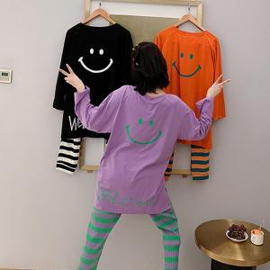パジャマ ルームウェア レディース 春夏秋 長袖 パジャマ 綿ルームウェア 笑顔ボーダー柄 上下セットゆったり  可愛い パジャマ 女性 部屋着 寝巻き 3色 fairyhouse0000