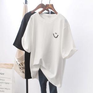 Tシャツ レディース きれいめ 40代 春夏 上品 半袖Tシャツ ブラウス 綿 白トップス 笑顔 オシャレ 韓国風 ゆったりカットソー 大きいサイズ  Tシャツ  2色の画像