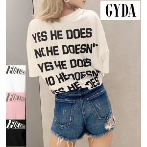 ジェイダ GYDA quote logo Tシャツ 半袖 バックプリント メッセージ BIGT オー...