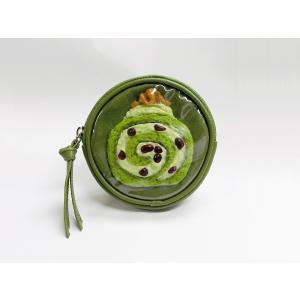 丸型ポーチ:ロールケーキ 抹茶|fakefoodjapan