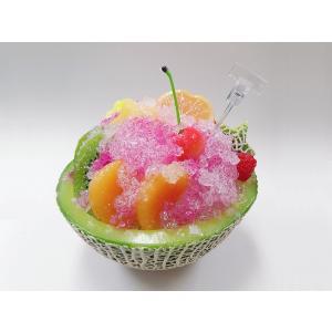 かき氷 大・メロン(イチゴソース)食品サンプル fakefoodjapan