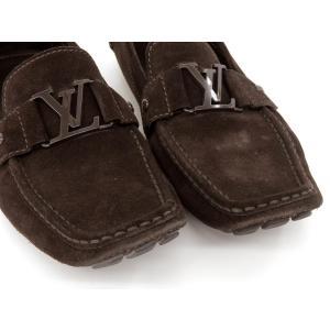 美品 LOUISVUITTON ルイヴィトン スエード ドライビングシューズ ローファー メンズ 革靴 茶 ブラウン 8 1/2 約27.5CM  201 famileys 02