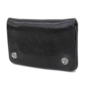 【CHROMEHEARTS クロムハーツ】1ジップ フローラルボタン 二つ折り財布 レザー 黒 ブラ...