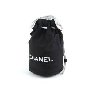 ブランド:【CHANEL シャネル】 商品名:ロゴ 巾着型 リュック キャンバス ブラック 黒 ホワ...