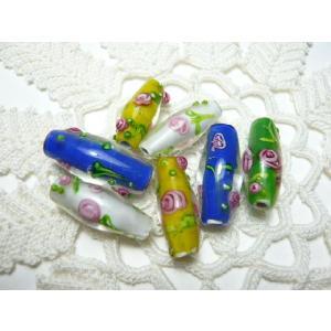 とんぼ玉 手芸材料 手作りビーズの貴重品 トンボ玉8×20mm紡錘 (1個)Y|familiamia