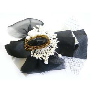 リボンとパールペップのブローチ風コサージュ アクセサリー 帽子を飾ったり バックやポーチにとめたり|familiamia