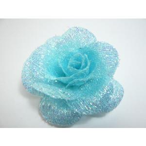 ブルーラメのバラ ドレスや帽子 バックにつけるだけでなくヘアーアクセサリーにもなる造花|familiamia