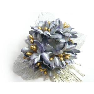コサージュ&ヘアクリップ2WAY 個性的なデージーと揺れるシルバービーズのブローチ風 髪飾り 花飾り 帯飾り 髪留め 和装小物 ウエディング フォーマル|familiamia