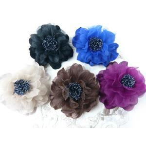 コサージュ&ヘアクリップ2WAY ふわふわ大輪のバラ 髪飾り 花飾り 帯飾り 髪留め 和装小物 ウエディング フォーマル|familiamia