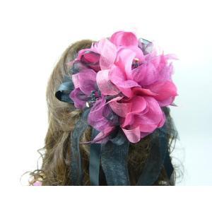 コサージュ&ヘアクリップ2WAY ときめきのリボンハーモニー情熱のワインレッドと黒 髪飾り フォーマル 造花|familiamia
