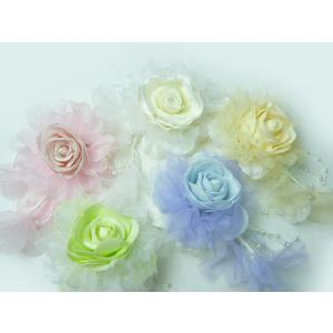 コサージュ&ヘアクリップ2WAY パールラメパステルカラー 髪飾りにもなる 造花 フォーマル|familiamia