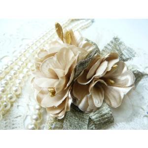 コサージュ&ヘアクリップ2WAY ラインストーンとメッシュリボンのチェリー 造花 フォーマル|familiamia