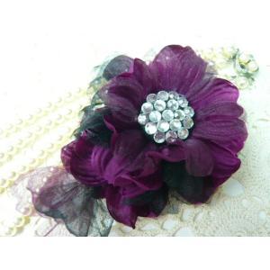 コサージュ&ヘアクリップ2WAY きらびやかなラインストーン ブラック&アマランスローズ 造花 フォーマル|familiamia