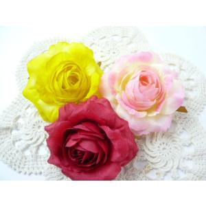 完成品コサージュ&ヘアクリップ2WAY ソフトローズ大(1個) 花飾り 造花|familiamia