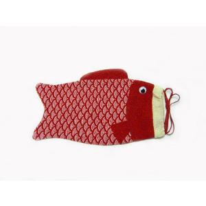 ちりめんバック 巾着鯉赤 袋物 RY|familiamia